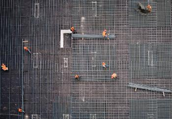 image of construction workers seen from above