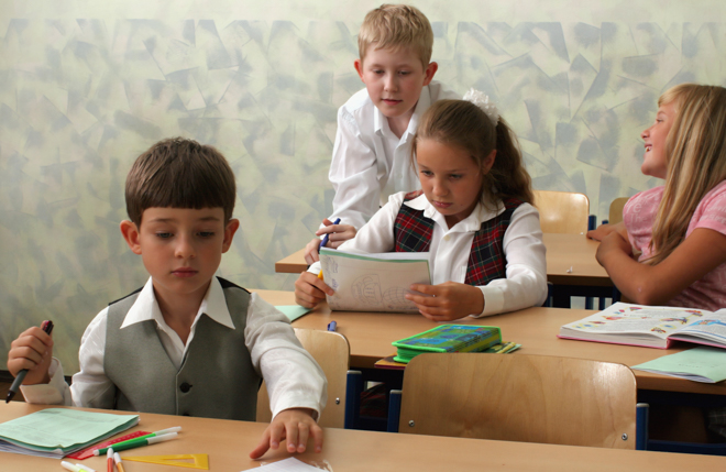 boy and girl in school environment